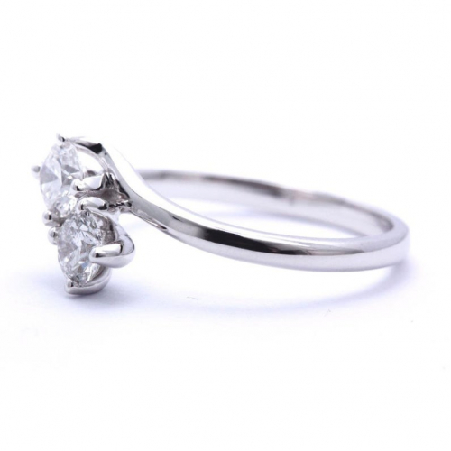 2 Stone Round Cut Natural Diamonds Engagement Ring In 18k White Gold