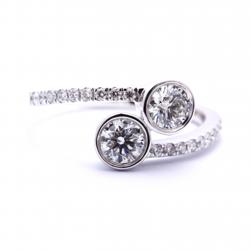 2 Stone Round Cut Natural Diamonds Bezel Engagement Ring In 18k White Gold