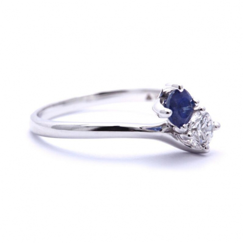 2 Stone Round Cut Natural Diamond & Sapphire Engagement Ring In 18k White Gold
