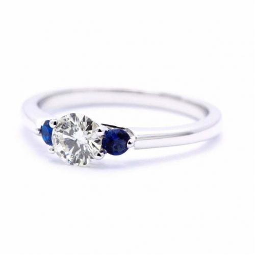 Round Cut Natural Diamond Three Stone Engagement Ring In 18k White Gold