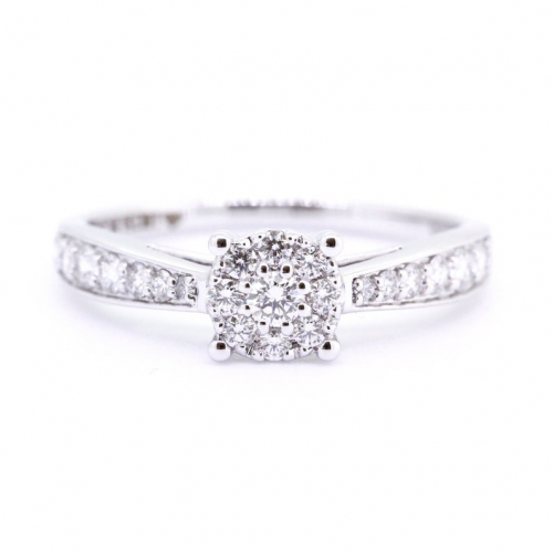 1/2 Carat Round Cut Natural Diamond Solitaire Look Ring VVS/F-G In 18K IN White Gold