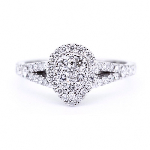 Round Cut VS/F Natural Diamond Pear Style Solitaire Look Ring in 18K White Gold