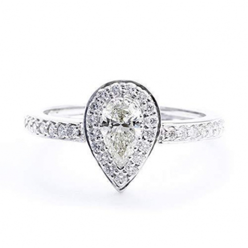 Pear Cut Halo Natural Diamond Engagement Ring In 18k White Gold