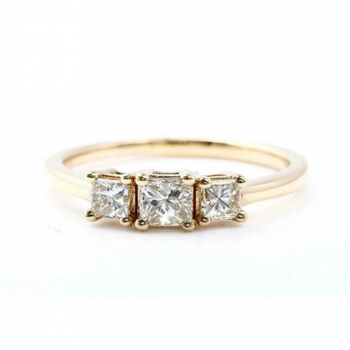 Princess Cut 3 Stone Natural Diamond Engagement Ring In 18K Yellow Gold