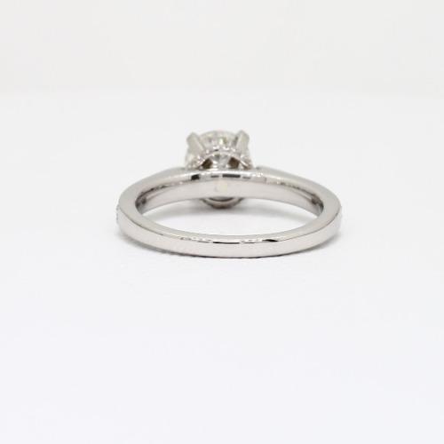 0.50Ct VS2 E Round Brilliant Hand Engraved Diamond Pave Engagement Ring Platinum