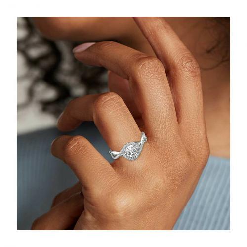 0.50 Ct VS2 D Round Brilliant Cut Petite Twisted Diamond Halo Engagement Ring 18K-White Gold