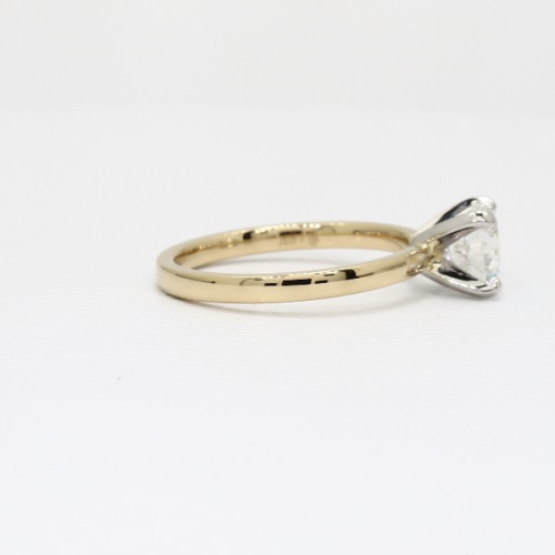 Round Natural Diamond Solitaire Engagement Ring In 18K Yellow Gold