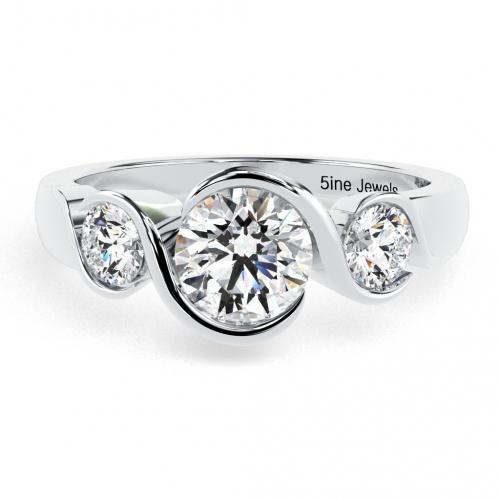 Round Brilliant Cut Natural Diamond Half Bezel Twist 3 Stone Engagement Ring