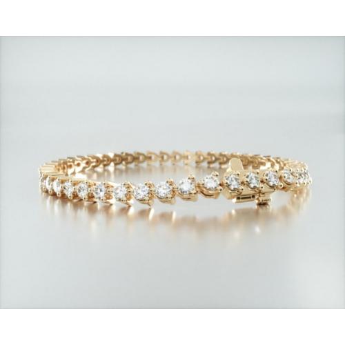 *Video* 4 Cts VS/ F-G 100% Natural Round Diamond Tennis Bracelet 18K-Yellow Gold