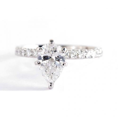 1.10 Carats SI2 D French Pave Pear Cut Diamond Engagement Ring 18K White Gold