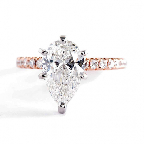 1.25 Carats SI2 F 6 Prong Pear Cut Diamond Engagement Ring 18K Rose Gold