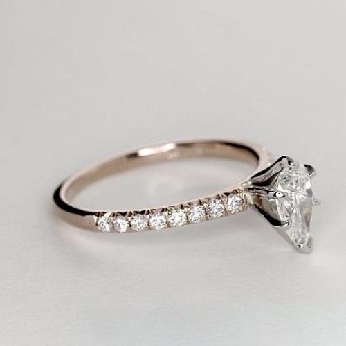 1.25 Carats SI2 F 6 Prong Pear Cut Diamond Engagement Ring 18K Rose Gold