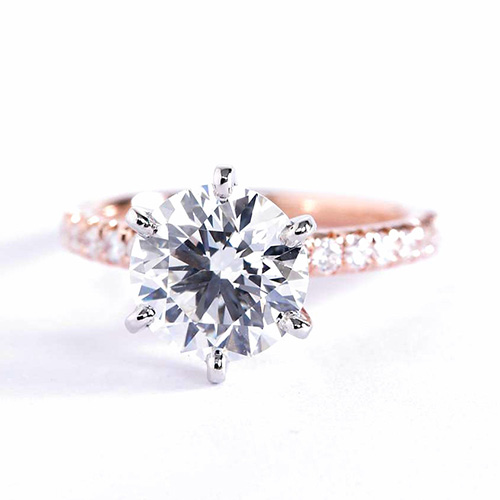 1.75 Carats VS2 D 6 Prong Round Cut Diamond Engagement Ring 18K Rose Gold