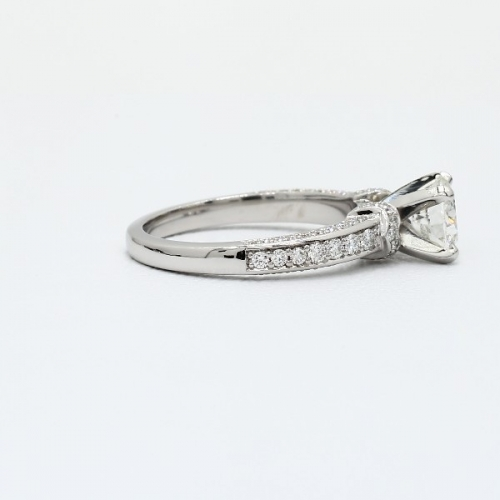 1.95 Carats SI2 F Micro Pave Round Cut Diamond Engagement Ring 18K White Gold