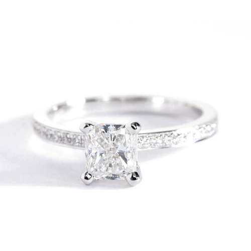 0.90 Ct SI2 F Micro Pave Radiant Cut Diamond Engagement Ring 18K White Gold