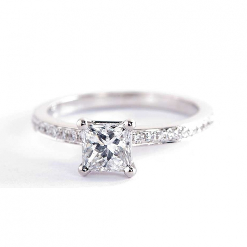 GIA 0.70 Ct VS2 F Micro Pave Princess Diamond Engagement Ring 18K White Gold