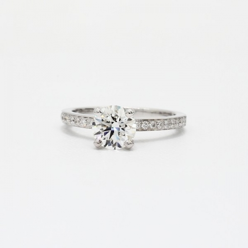 1.20 Cts VS2 F Micro Pave Round Cut Diamond Engagement Ring 18K White Gold