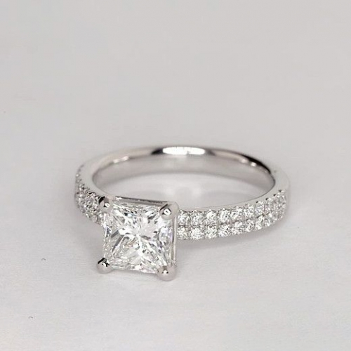 1.35 Carats SI2 F Double Row Princess Cut Diamond Engagement Ring 18K White Gold
