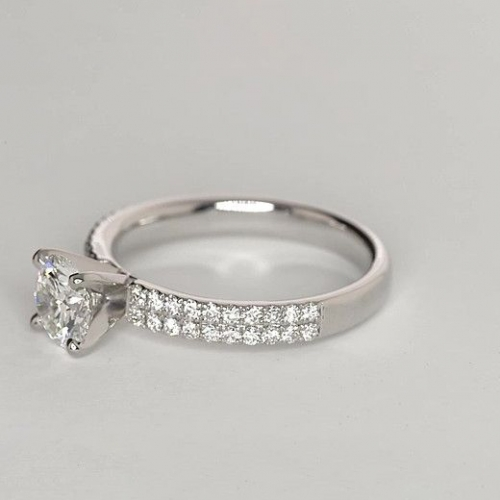 1.25 Carats SI2 D Double Row Round Cut Diamond Engagement Ring 18K White Gold