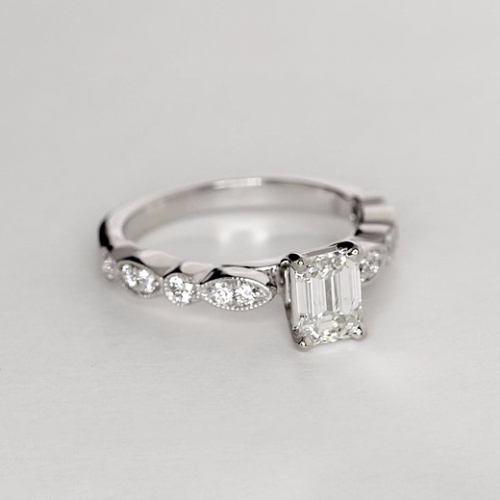1.05 Cts VS2 F Leaf Inspired Emerald Cut Diamond Engagement Ring 18K White Gold