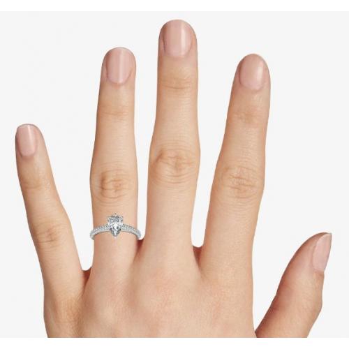 1.40 Carats SI2 F Three Row Micro Pear Cut Diamond Engagement Ring Platinum