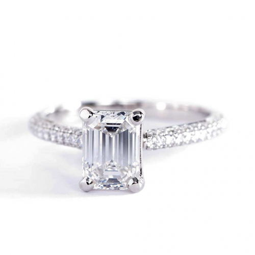 1.40 Carats VS2 F Three Row Micro Emerald Cut Diamond Engagement Ring Platinum