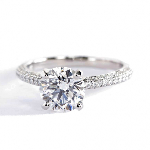 1.40 Carats SI2 D Three Row Micro Round Cut Diamond Engagement Ring Platinum