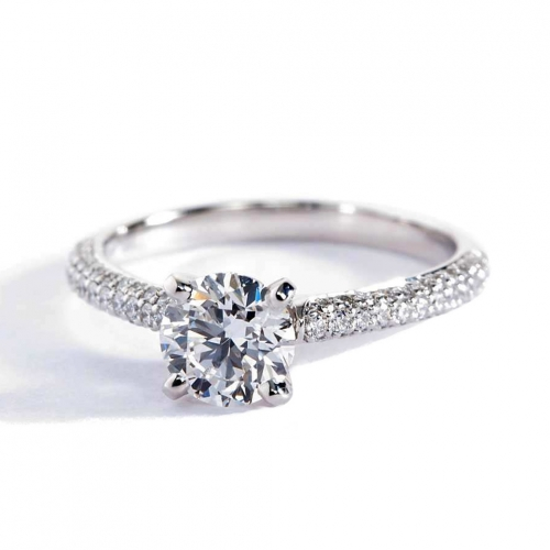 GIA Certified 1.10 Cts SI2 D 3 Row Micro Round Diamond Engagement Ring Platinum