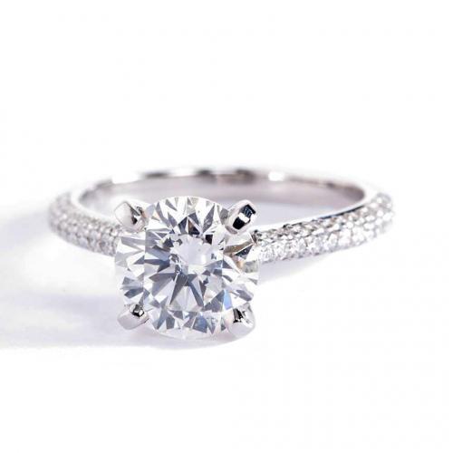 1.90 Cts SI2 F Three Row Micro Round Cut Diamond Engagement Ring 18K White Gold