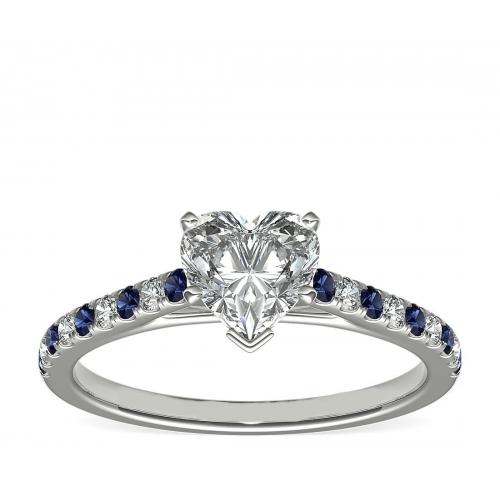 1.25 Carats SI2 F Blue Sapphire Heart Cut Diamond Engagement Ring Platinum
