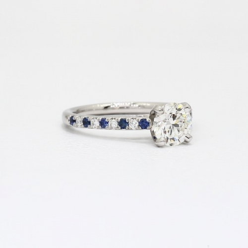 GIA Cert 0.75 Ct VS2 F Blue Sapphire Round Diamond Engagement Ring Platinum