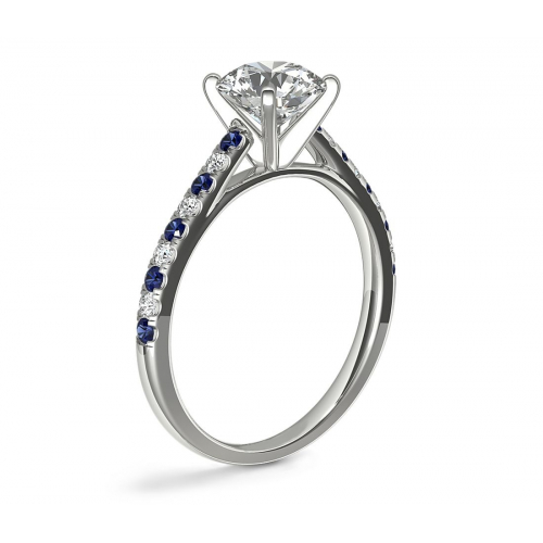 GIA Cert 0.75 Ct VS2 F Blue Sapphire Round Diamond Engagement Ring Platinum