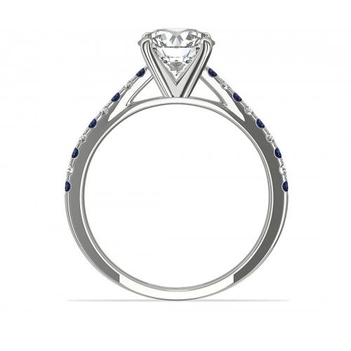 1.15 Carats SI2 F Blue Sapphire Round Cut Diamond Engagement Ring Platinum