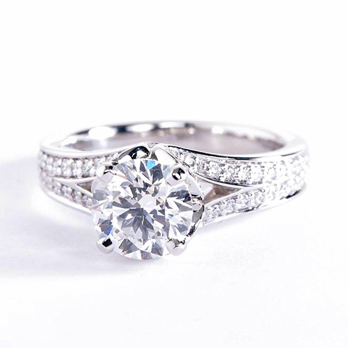 1.30 Carats SI2 D Split Shank Round Cut Diamond Engagement Ring 18K White Gold