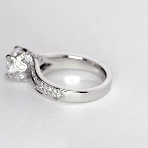 GIA 1.10 Cts VS2 H Split Shank Round Diamond Engagement Ring 18K White Gold