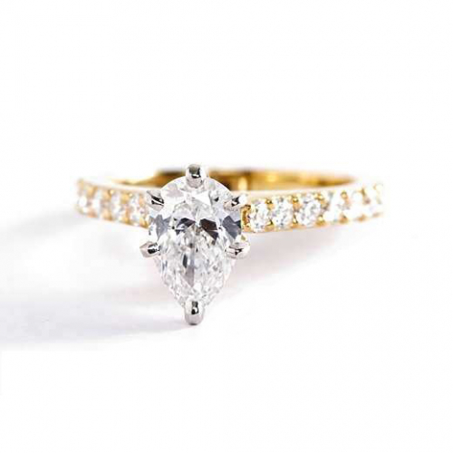 0.95 Carat SI2 F Vintage Style Pear Cut Diamond Engagement Ring 18K Yellow Gold