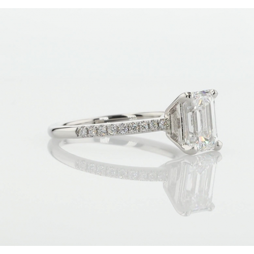 1.45 Cts SI1 F Vintage Style Emerald Cut Diamond Engagement Ring 18K White Gold