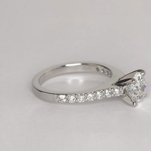 1.45 Cts SI2 F Vintage Style Round Cut Diamond Engagement Ring 18K White Gold