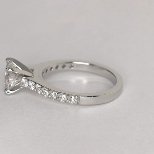 1.35 Cts SI2 D Vintage Style Round Cut Diamond Engagement Ring 18K White Gold