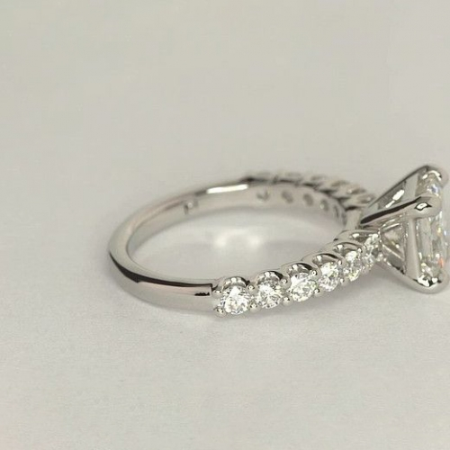 1.50 Carats SI2 F Simple Cushion Cut Diamond Engagement Ring 18K White Gold