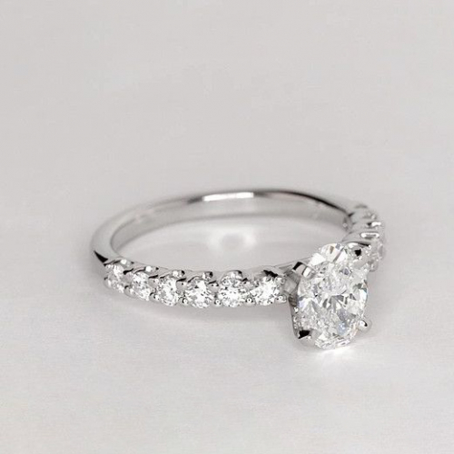 GIA Certified 1.20 Cts VS2 F Simple Oval Diamond Engagement Ring 18K White Gold