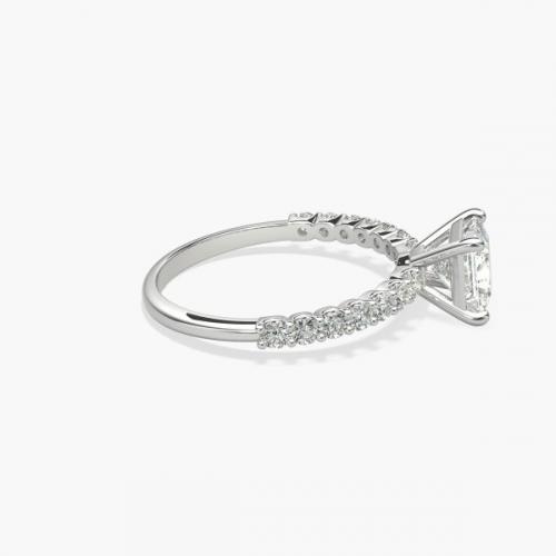 GIA Certified 1 Ct VS2 H Simple Princess Diamond Engagement Ring 18K White Gold