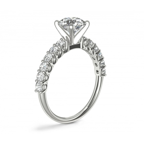 1.50 Carats SI2 F Simple Round Cut Diamond Engagement Ring 18K White Gold