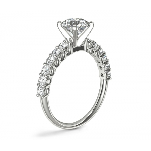 1.40 Carats SI2 D Simple Round Cut Diamond Engagement Ring 18K White Gold