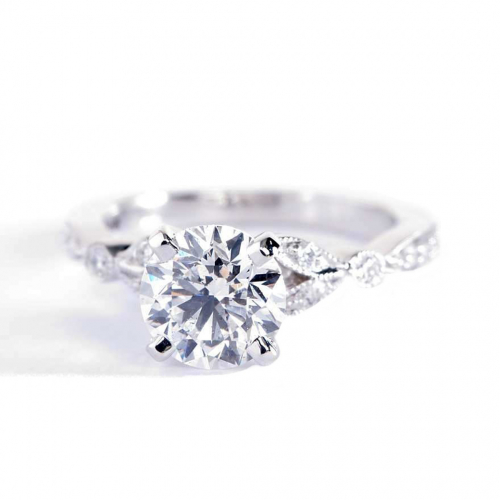 1.20 Cts SI2 D Vintage Style Round Cut Diamond Engagement Ring 18K White Gold