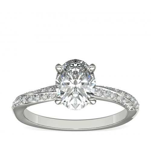 1.30 Carats SI2 F Twist Oval Cut Diamond Engagement Ring Platinum