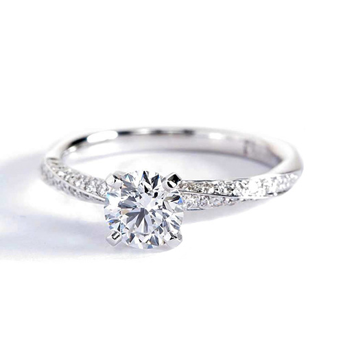 1.20 Carats SI2 F Twist Round Cut Diamond Engagement Ring Platinum