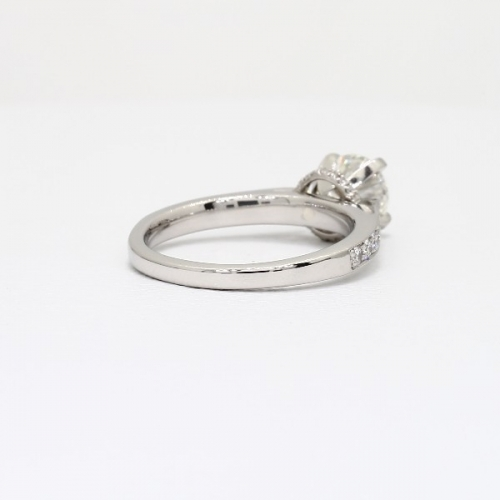 GIA Cert 0.95 Ct SI2 F Milligrain Round Diamond Engagement Ring 18K White Gold