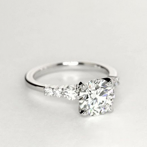1.15 Cts SI2 F Petite 6 Stone Round Cut Diamond Engagement Ring 18K White Gold