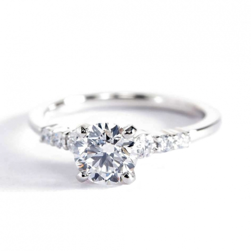 GIA 0.95 Ct SI2 F Petite 6 Stone Round Diamond Engagement Ring 18K White Gold
